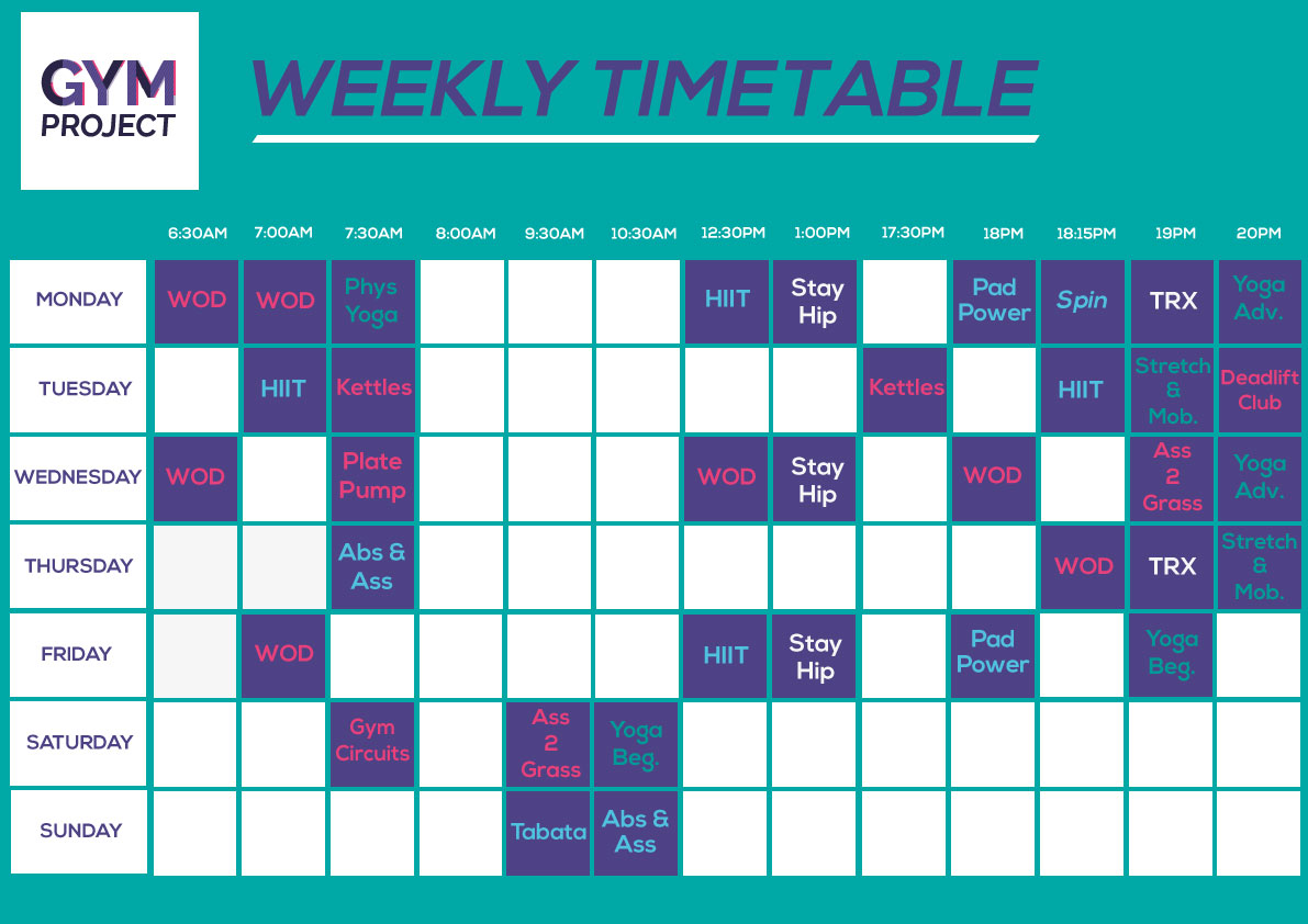 Class Timetable gymprojectcouk – Class Timetable